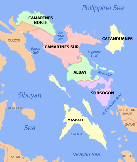 Photo from Wikipedia showing the the location of Sorsogon on the Bicol Region map