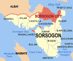 WIkipedia map of Sorsogon Province