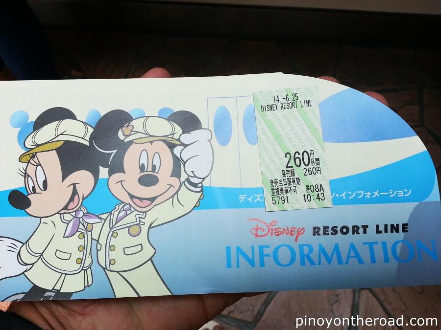 Disney Resort Line Ticket. One way is 260 yen