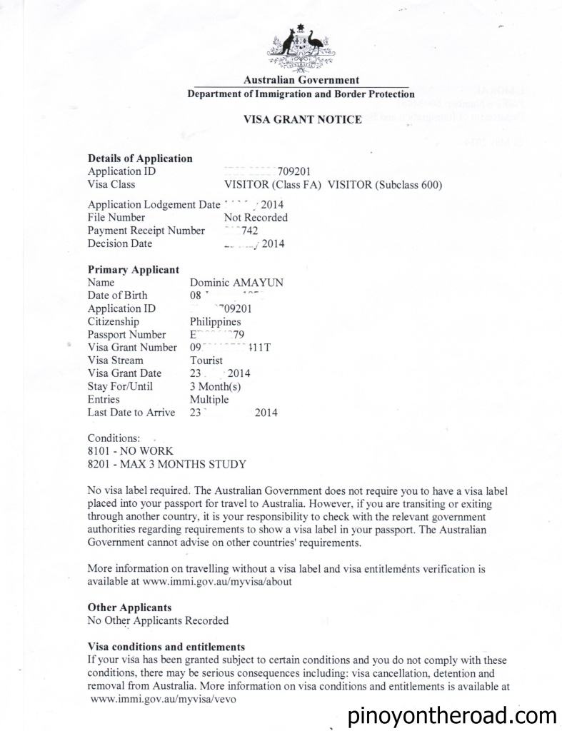 Tourist Visa Cover Letter Sample