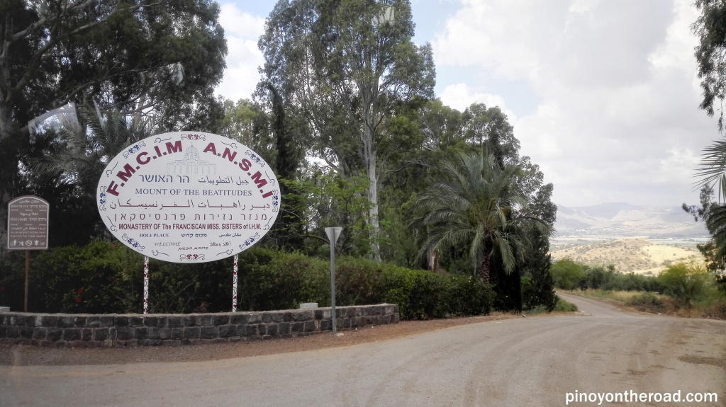 Signage before entering Mt of Beatitudes